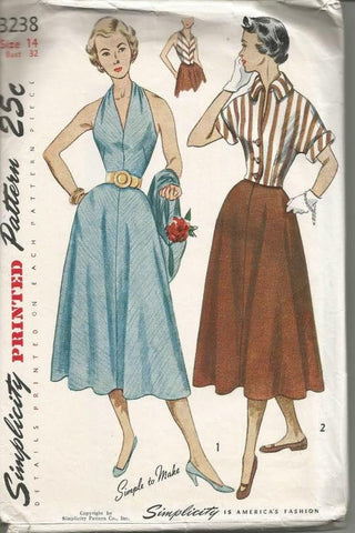 1950s Halter Top Sundress Rat Rod Rockabilly and Fitted Jacket Simplicity 3238 Bust 32 Womens Vintage Sewing Pattern