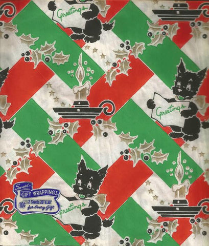 1940s Vintage Christmas Gift Wrap Scotty Dog Scotties Original Price Tag 1 Sheet Smart Products Co. Vintage Wrapping Paper Inventory 3