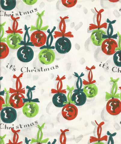 Vintage Christmas Gift Wrap Wrapping Paper Hand Painted? Christmas Ornaments Vintage Christmas Gift Wrap Vintage Christmas One Sheet