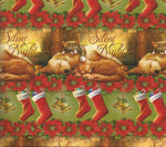 Christmas Wrapping Paper Gift Wrap Dog Cats Stockings Silent Night One Unused Sheet Christmas Gift Wrapping Paper