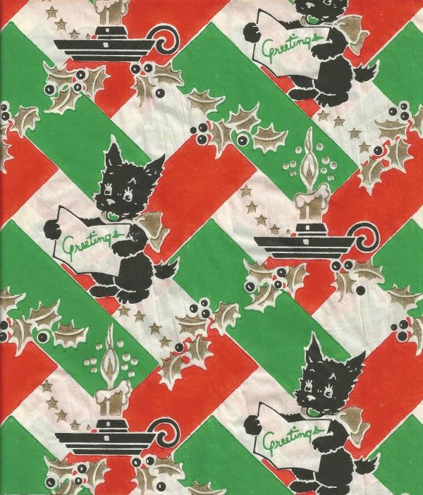 1940s Vintage Christmas Gift Wrap Scotty Dog Scotties Original Paper Not PDF One Sheet Smart Products Co. Vintage Wrapping Paper Inventory 2