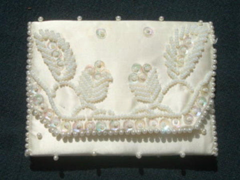 Vintage White Beaded Coin Purse Evening Purse Made in Japan