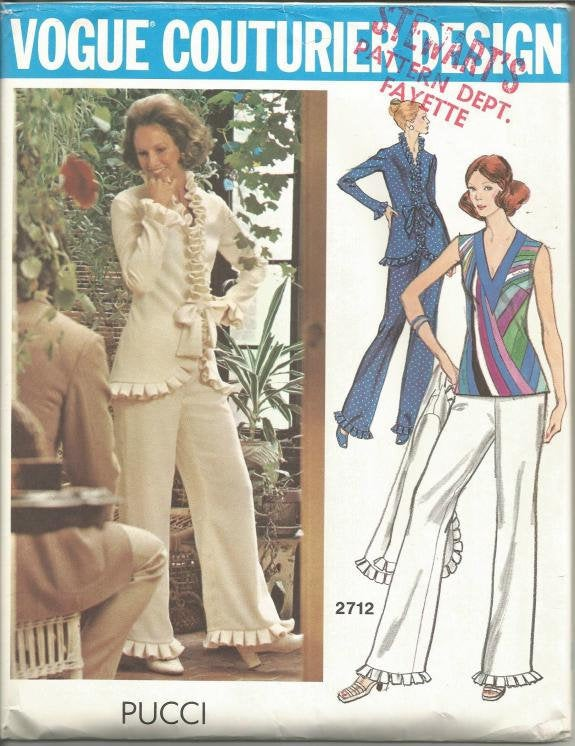 1970s Pucci Pants Suit and Top Loungewear Hostess Wear Partially Cut Vogue 2712 Bust 38 Women's Vintage Sewing Pattern