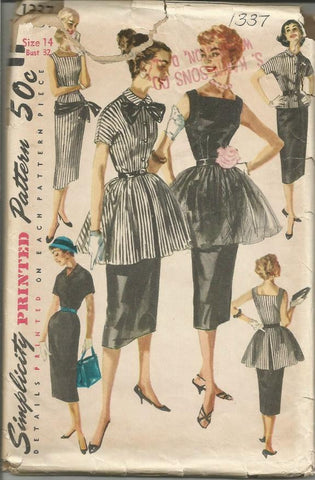 1950s Sheath Cocktail Dress Sleeve Variations Simplicity 1337 UNCUT FF Bust 32
