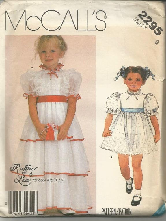 1980s Girl's Ruffles & Lace Evening or Day Length McCall's 2295 Uncut FF Size 8 Girls' Vintage Sewing Pattern