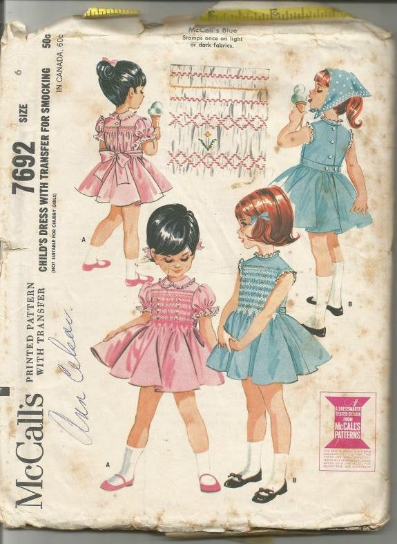 1960s Girls Smocked Dress Puff Sleeves or Sleeveless Full Skirt McCall's 7692 Girl Size 6 Breast 24 Girls' Vintage Sewing Pattern