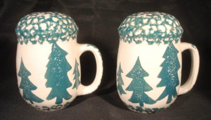 Cabin Decor Winter Decor Sponge Ware Salt and Pepper Shakers with Pine Trees Home Decor Christmas Decor