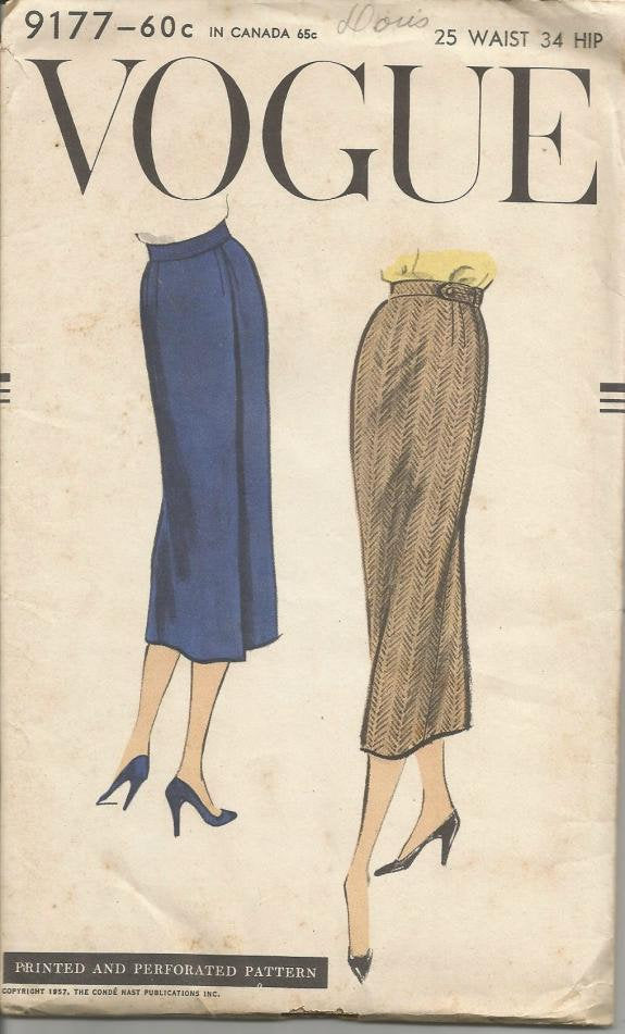 1950s Back Wrap Skirt Pattern Easy to Sew Vogue 9177 FACTORY FOLDS Waist 25 Women's Vintage Sewing Pattern