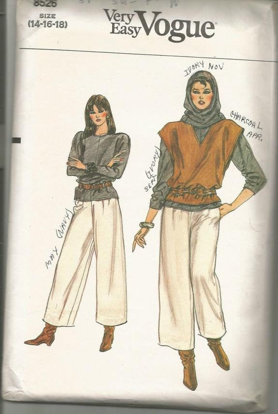 1980s Pants Pullover Top Vest and Hood Easy to Sew Full Figure Vogue 8526 Bust 36-40 Women's Vintage Sewing Pattern