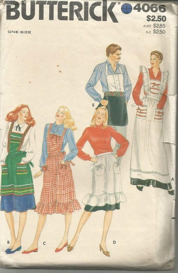 1970s Women's and Men's Apron Length Variations Bib Half Aprons Butterick 4066 One Size Women's Vintage Sewing Pattern