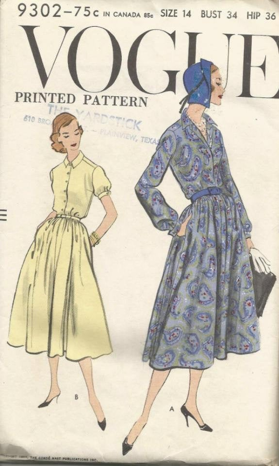 1950s Long or Short Sleeve Dress Day Dinner Theater  Neckline Variations Vogue 9302 UNCUT FF Bust 34 Women's Vintage Sewing Pattern