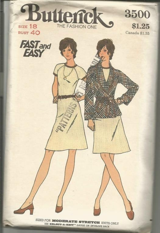1960s A-Line Dress with Short Sleeves and Jacket Easy to Sew Butterick 3500 UNCUT FF Bust 40 Women's Vintage Sewing Pattern