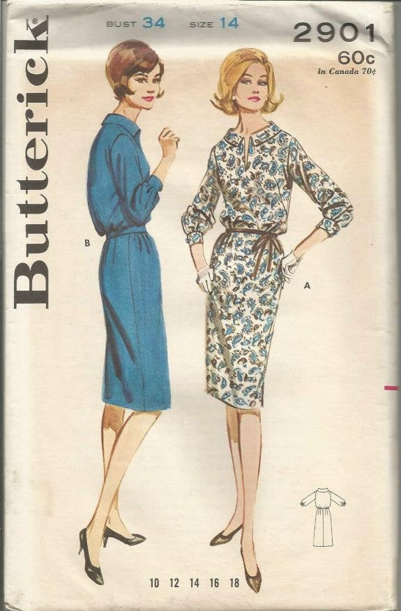 1960s Sheath Dress Three Quarter Length Sleeves Bloused Bodice Butterick 2901 UNCUT FF Bust 34 Women's Vintage Sewing Pattern