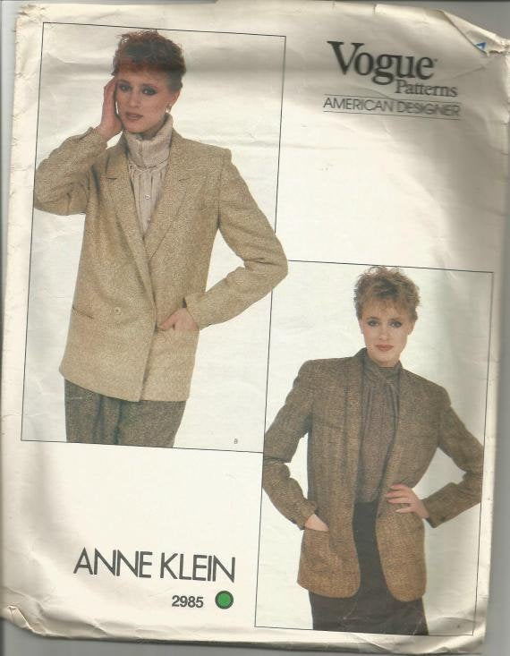 1980s Anne Klein Jacket Single or Double Breasted Career Work Office Casual Wear Vogue 2985 Bust 31.4 Women's Vintage Sewing Pattern