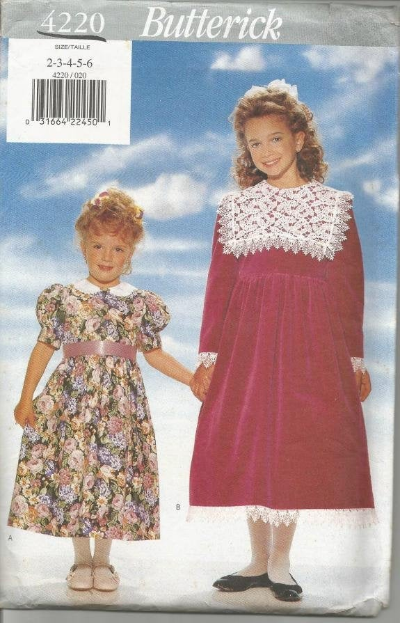 1990s Toddler & Girls' Dress Long or Puff Sleeves Easy to Sew Butterick 4220 Sizes 2-3-4-5-6 UNCUT FF Girls' Sewing Pattern