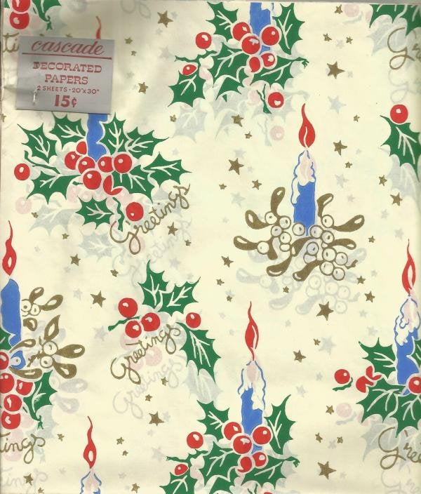 Vintage 1940s - 1950s Christmas Gift Wrap Two Sheets NOS Vintage Christmas Vintage Gift Wrap Christmas Decoration
