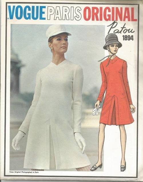 1960s Patou Long Sleeve Dress Front Inverted Pleat Back Button Closure Vogue 1894 UNCUT FF Label Bust 36 Women's Vintage Sewing Pattern