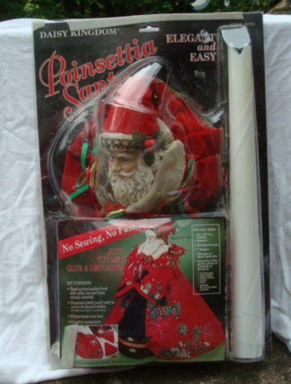 1990s Daisy Kingdom Poinsettia Santa A No-Sew DIY Christmas Craft Unused