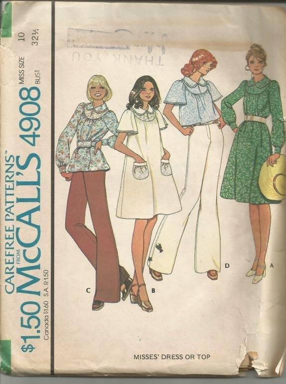 1970s Yoked Dress or Top with Collar Long or Short Sleeves McCall's 4908 Uncut FF Size 10 Bust 32.5 Women's Vintage Sewing Pattern