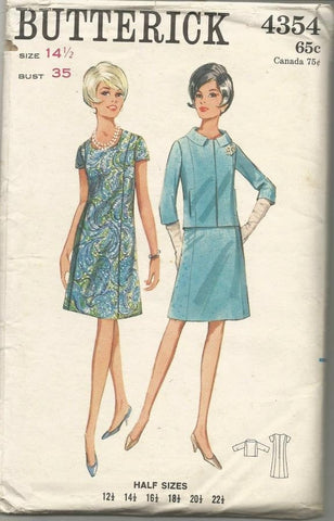 1960s Dress and Jacket Princess Seams A-Line Butterick 4354 Bust 35 Women's Vintage Sewing Pattern