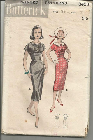 1950s Figure Hugging Empire Sheath Tucked Bodice Collar or Collarless Butterick 8453 UNCUT FF Women's Vintage Sewing Pattern