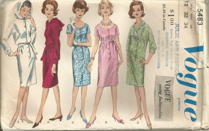 1960s One Piece Dress Front Buttoning Hood Sleeve Neckline Variations Vogue 5483 Uncut FF Label Sz 12 Bust 32 Women's Vintage Sewing Pattern