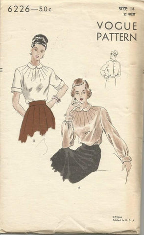 1940s Blouse Decorative Dart Tucks Short or Long Sleeve Peter Pan Collar Vogue 6226 Factory Folds Bust 32 Women's Vintage Sewing Pattern - Kinseysue's Shop