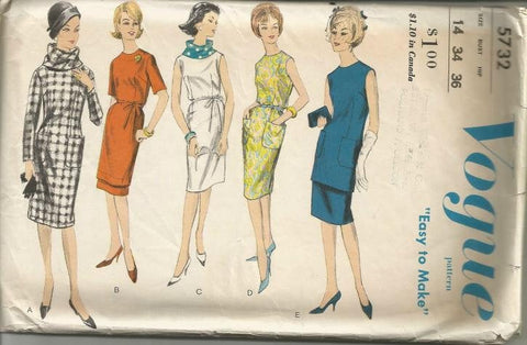 1960s Sheath Dress Tunic Skirt Scarf Easy to Sew Sleeve Variations Vogue 5732 Bust 34 Women's Vintage Sewing Pattern