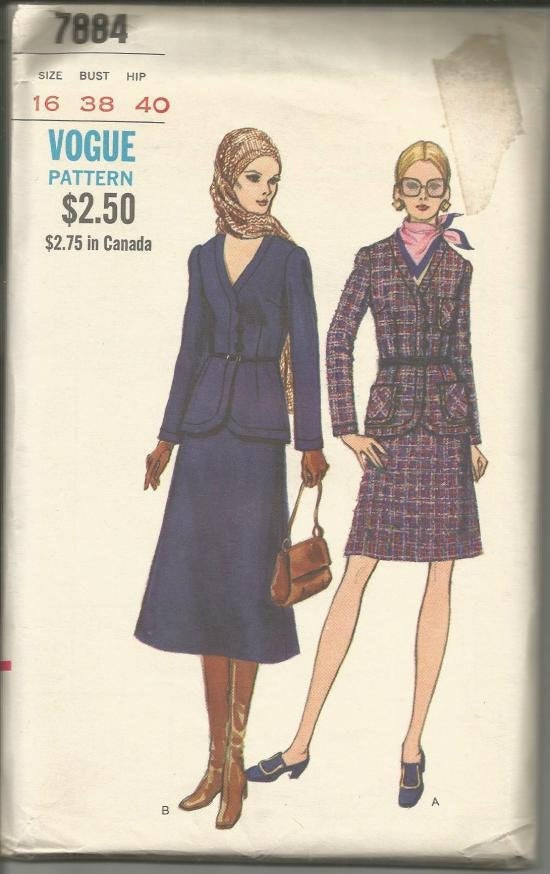 1980s Suit Hip Length Jacket A-Line Skirt in Two Lengths Vogue 7884 UNCUT FF Bust 38 Women's Vintage Sewing Pattern