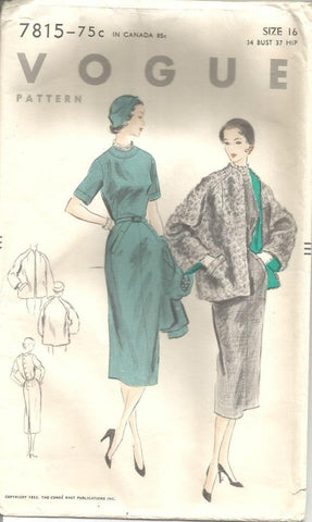 1950s Sheath Dress & Jacket Vogue 7815 Bust 34 FF