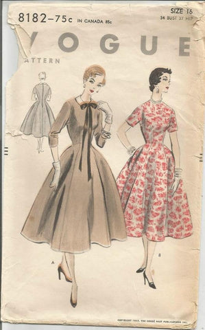 1950s Fit and Flare Bouffant Skirt Princess Seams Sleeve Variations Easy to Sew Vogue 8182 Bust 34 Women's Vintage Sewing Pattern