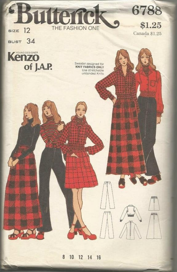 1970s Designer Kenzo, Cropped Jacket, Skirt, Pants and Sweater Butterick 6788 UNCUT FF Bust 34 Women's Vintage Sewing Pattern