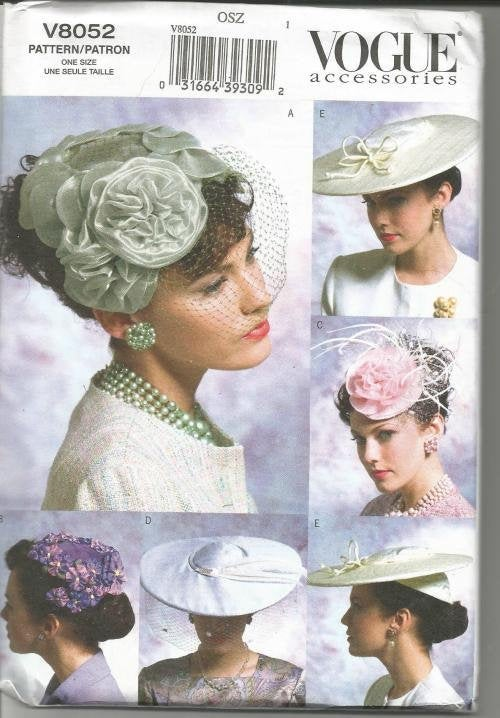 Women's Hats Based on 1950s Hats Saucer Hat Birdcage Veil Fascinator Vogue 8052 UNCUT FF One Size Fits Most Women's Sewing Pattern