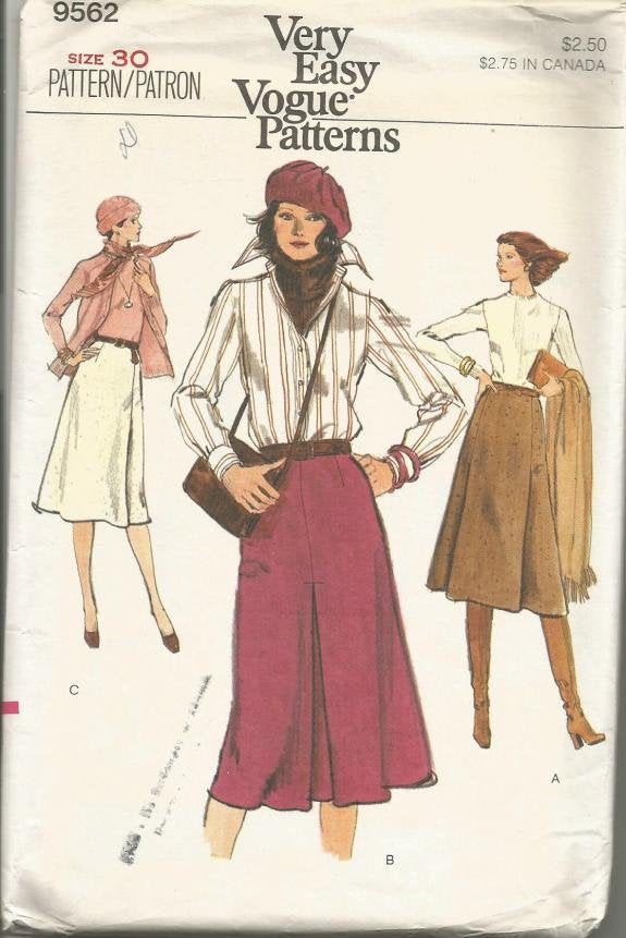 1970s  Misses' A-Line Skirts Three Styles Easy to Sew Vogue 9562 UNCUT FF Waist 30 Women's Vintage Sewing Pattern