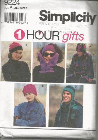 1990s Hats Mittens Vest Headband Winter Wear Partially Cut Simplicity 9224 Women's Men's Teens' Sewing Pattern