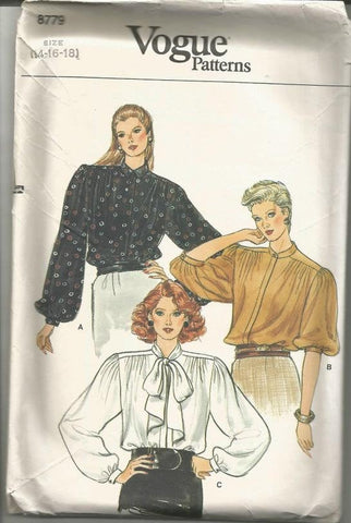 1980s Women's Blouses Three Styles Long or or Elbow Length Sleeves Vogue 8779 UNCUT FF Bust 36 38 40 Women's Vintage Sewing Pattern