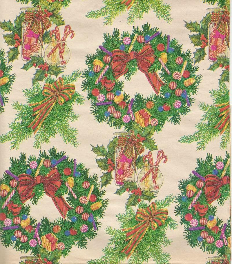 Vintage Christmas Wrapping Paper Christmas Wreaths Christmas Candy  One Oversized Sheet MCM Christmas Gift Wrap