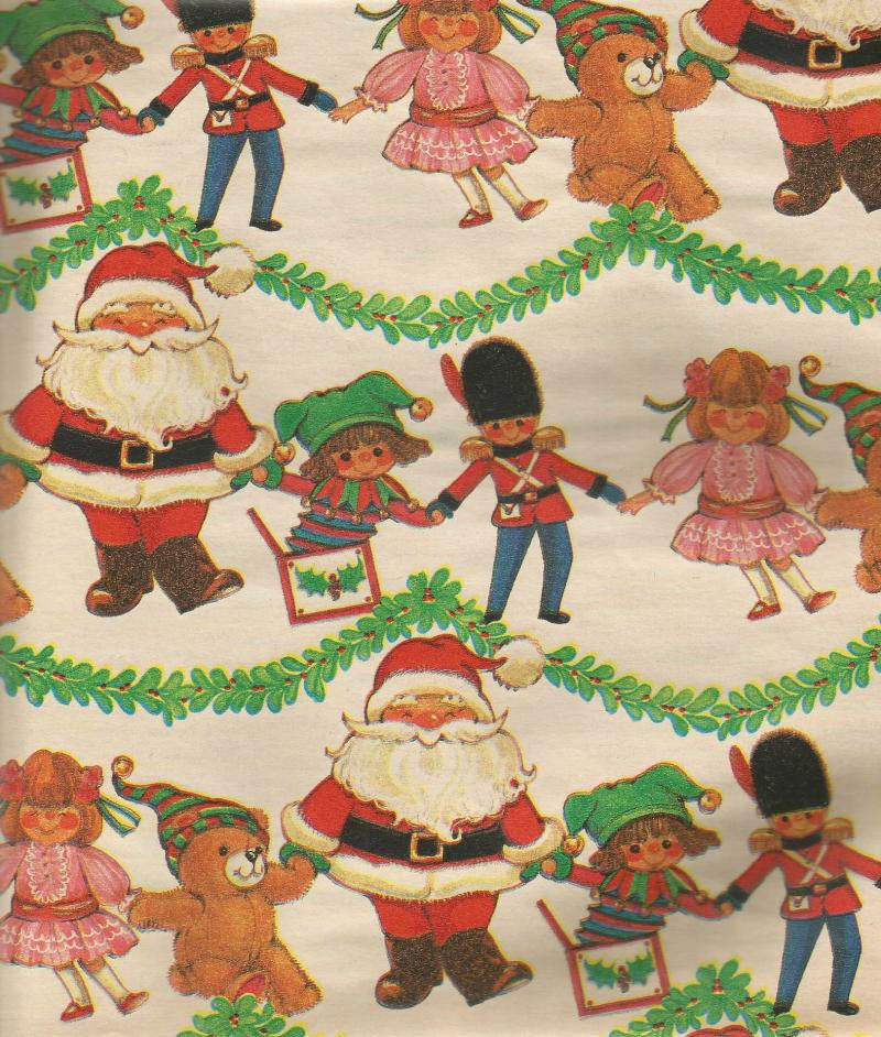 Vintage Christmas Wrapping Paper Christmas Tree Garland Santa Holding Hands with Toys Oversized Sheet Christmas Gift Wrap