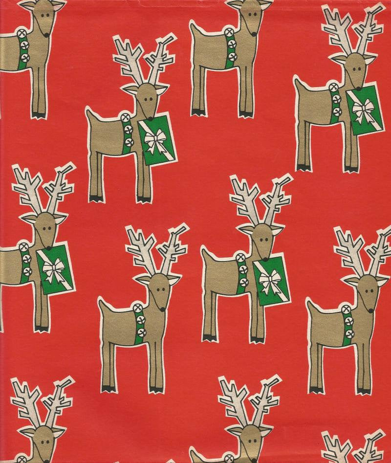 Vintage MCM Christmas Wrapping Paper Stylized Deer Holding Packages Oversized Flat Sheet Christmas Gift Wrap