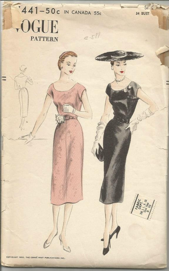 1950s Sheath Dress Cap Sleeves Scoop Neck Easy to Sew Vogue 7441 Bust 34 Women's Vintage Sewing Pattern