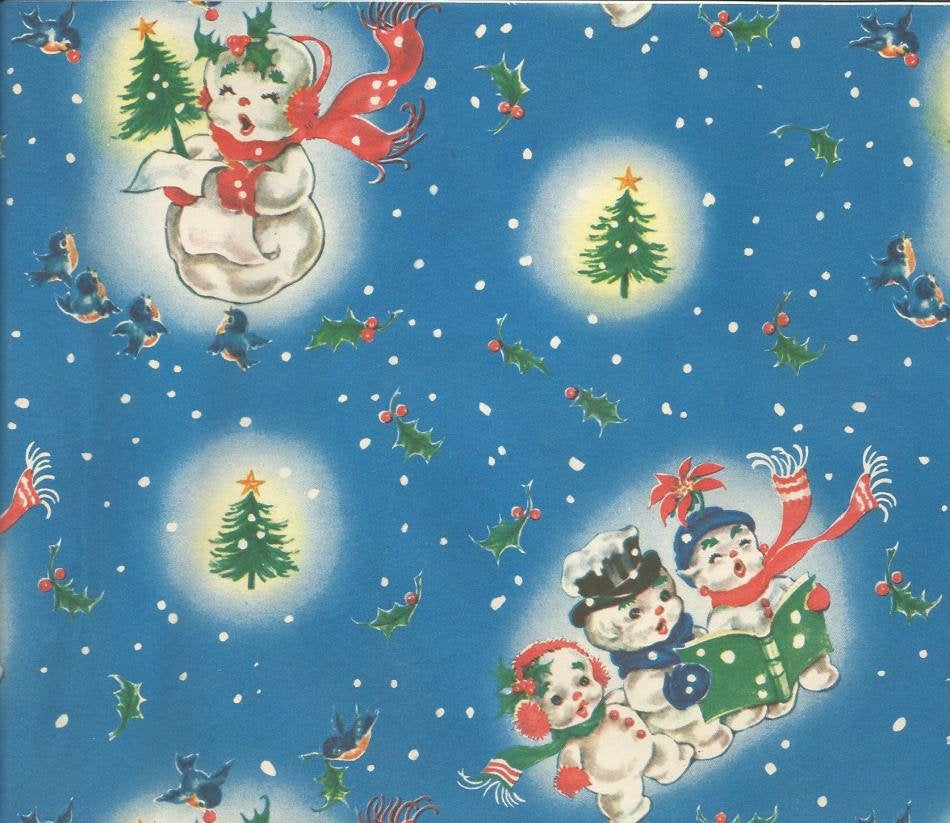 Vintage Christmas Gift Wrap Singing Snowmen Family Colorful Christmas Trees Holly & Berries One Flat Sheet Christmas Wrapping Paper