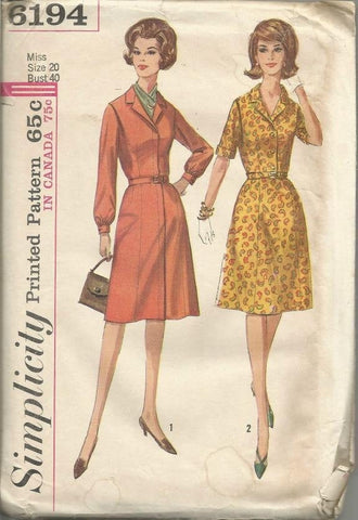 1960s Short or Long Sleeve Dress V Neckline Full Figure Plus Size Simplicity 6194 UNCUT FF Bust 40 Women's Vintage Sewing Pattern
