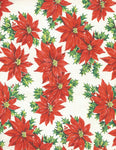 Vintage Christmas Gift Wrap Red Poinsettias on White One Flat Sheet Vintage Christmas Wrapping Paper