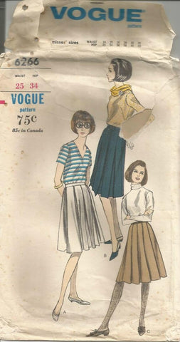 1960s Pleated Skirts Three Styles Vogue 6266 UNCUT FF Waist 25 Women's Vintage Sewing Pattern
