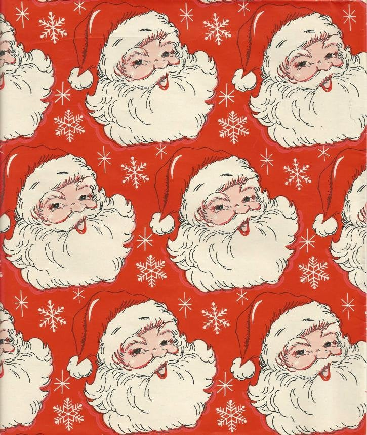 Vintage 1960s Christmas Wrapping Paper Tuttle Press Santa Faces on Red One Flat Sheet Vintage Christmas Gift Wrap Inv #1