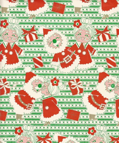 Vintage 1960s Christmas Wrapping Paper Tuttle Press Santa and Mrs. Claus One Flat Sheet Vintage Christmas Gift Wrap