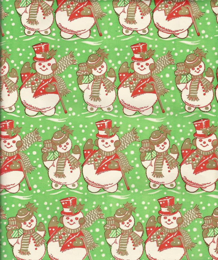 Vintage 1960s Christmas Wrapping Paper Tuttle Press Snow Couple One Flat Sheet Vintage Christmas Gift Wrap