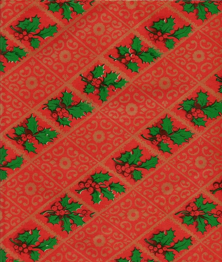 Vintage Artfaire Christmas Wrapping Paper Holly and Berries on Green One Flat Sheet Vintage Christmas Gift Wrap