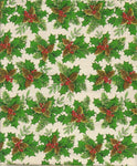 Vintage Christmas Wrapping Paper Holly and Berries on Green One Flat Sheet Vintage Christmas Gift Wrap