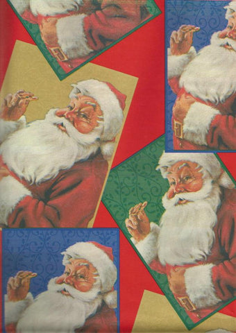 Vintage Cleo Christmas Wrapping Paper Santa Claus with Cookies Christmas Gift Wrap Christmas Decor
